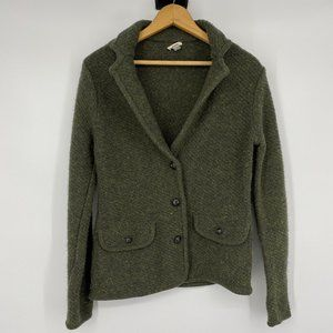 Fossil Green Button Up Cardigan Wool/Silk Small